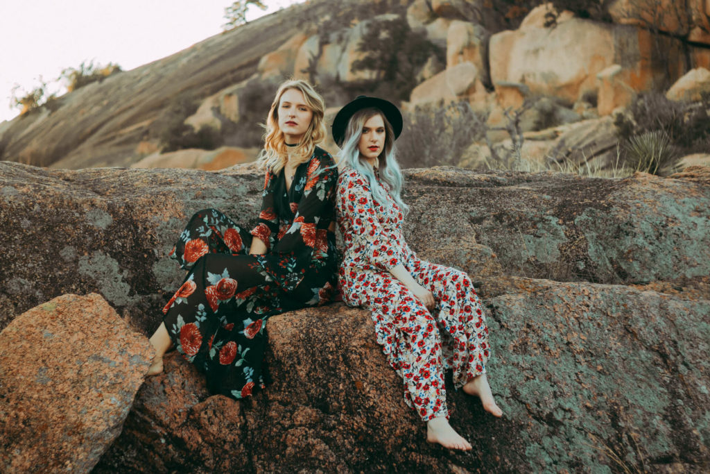 Enchanted Rock Texas Portrait Photoshoot Boho Girls