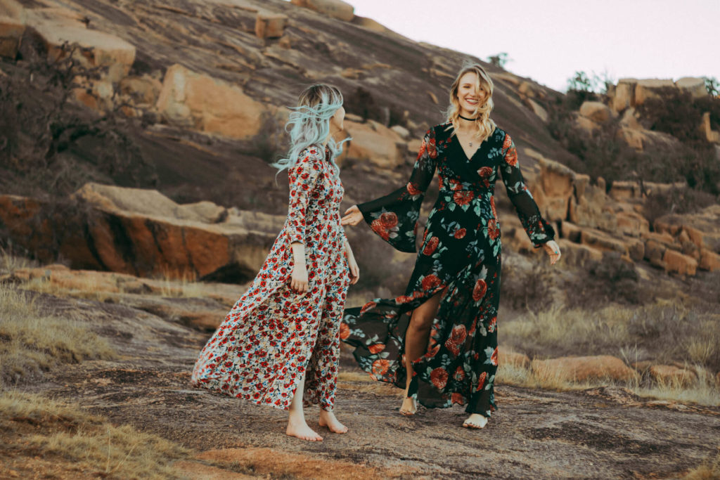 Enchanted Rock Texas Fashion Portrait Shoot Two Boho Girls