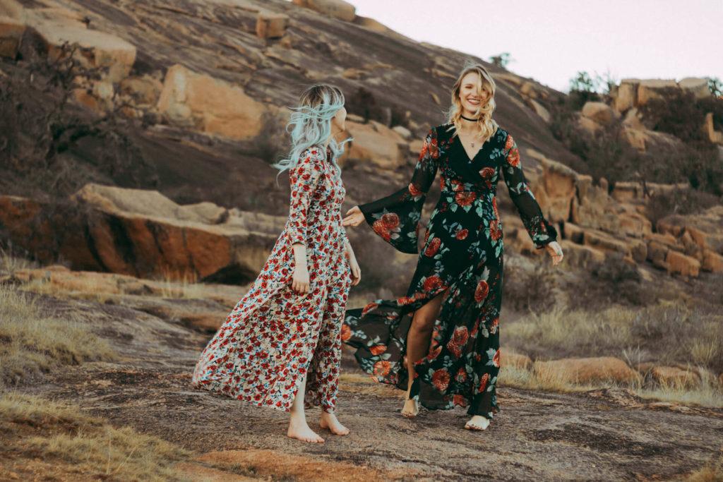Enchanted Rock Texas Fashion Portrait Shoot Two Boho Girls